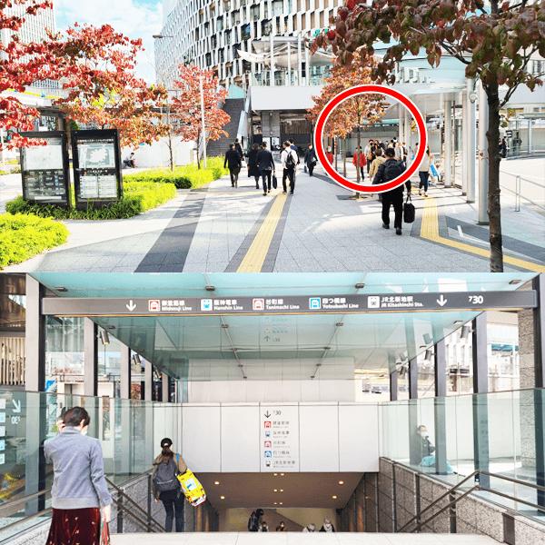 2.横断歩道を渡り、バスターミナルに沿って直進し18番(7-30)階段を下ります。