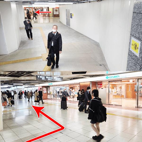 3. 階段降りると、正面に阪神百貨店のある通路を左へ進んで下さい。